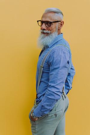 Senior hipster with stylish beard portraits Banco de Imagens