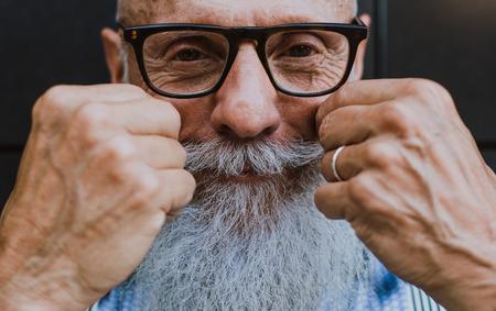 Senior hipster with stylish beard portraits Stock Photo