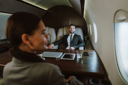 Business team on the private jet