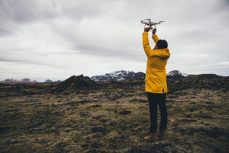 Man exploring iceland. 版權商用圖片
