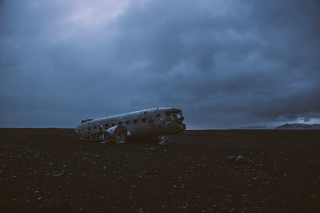 Black sand beach in Iceland, with the plane wreck
