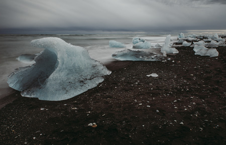 Icelandic glacier lagoon, diamond beach Stock Photo