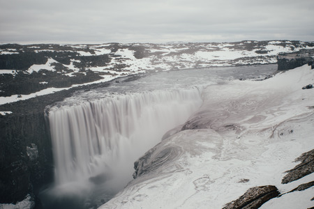 Dettifoss and selfoss,waterfalls in the northern part of iceland 写真素材