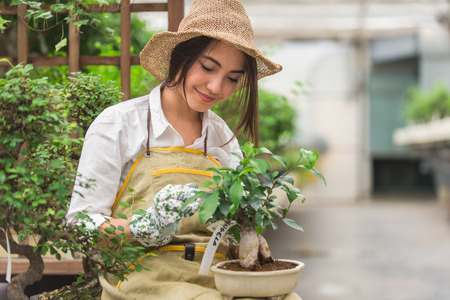 Pretty female gardener taking care of plants in her flowers and plants shop - Asian woman working in a greenhouse