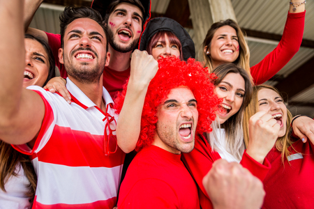 Football supporters at the stadium - Football fans having fun and looking at football match