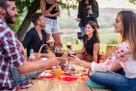 Group of young happy friends having picnic outdoors - People having fun and celebrating while grilling at a barbecue party in a countryside Banque d'images