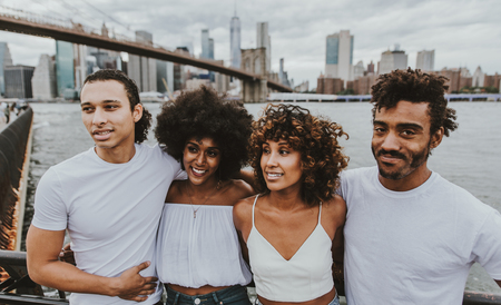 Group of friends spending time together in New york city Stock Photo