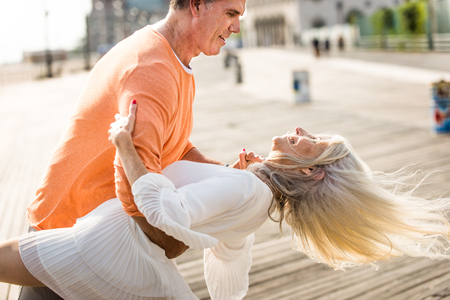 Beautiful happy senior couple dating outdoors - Youthful married couple having fun and enjoying life together Banque d'images - 120088096