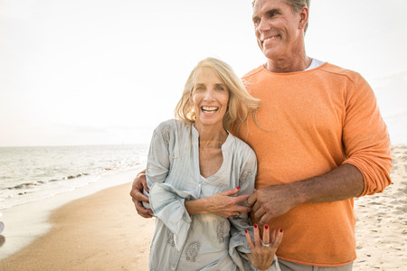 Beautiful happy senior couple dating outdoors - Youthful married couple having fun and enjoying life together