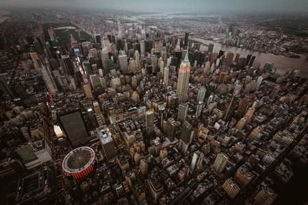 View of NY landmarks from helicopter tour 写真素材