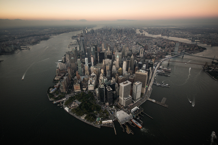 View of NY landmarks from helicopter tour Фото со стока
