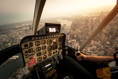 View of NY landmarks from helicopter tour Banco de Imagens