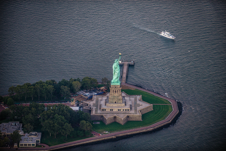 Statue of Liberty from above, New York - View of NY landmarks from helicopter tour Фото со стока