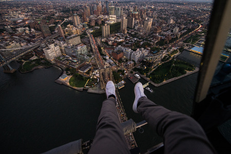 View of NY landmarks from helicopter tour Stock Photo