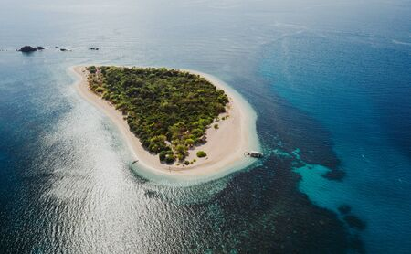 Pamalican island in the philippines, coron province. Aerial shot from drone about vacation,travel and tropical places