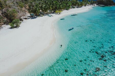 Malcapuya island in the philippines, coron province. Aerial shot from drone about vacation,travel and tropical places