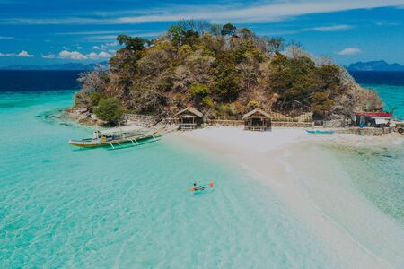 Bulog dos islands in the philippines, coron province. Aerial shot from drone about vacation,travel and tropical places
