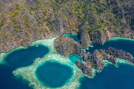 Beautiful aerial view of the popular twin lagoon in Coron, philippines. Concept about asian travels and landscapes Stock Photo