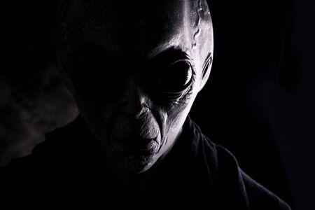 Außerirdische Kreatur hat eine Botschaft für den Menschen. Grauer freundlicher Humanoid aus einer anderen Planetenporträtserie.