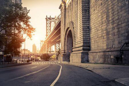 Manhattan Bridge view at sunset in New York