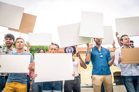 Group of activists is protesting outdoors