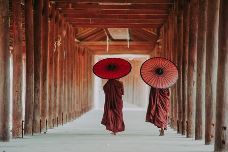 Children monks walking to the temple.
