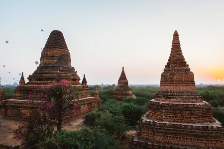 View at the bagan historic site. Temples and ruins in the jungle. Concept about travel and landmarks