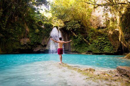 Kawasan waterfalls located on Cebu Island, Philippines - Beautiful waterfall in the jungle Reklamní fotografie - 128482728