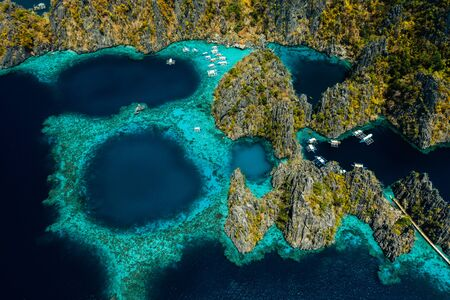 The famous Twin Lagoon in Coron, Philippines, aerial view Reklamní fotografie - 128482648