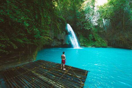 Kawasan waterfalls located on Cebu Island, Philippines - Beautiful waterfall in the jungle Reklamní fotografie - 128482130