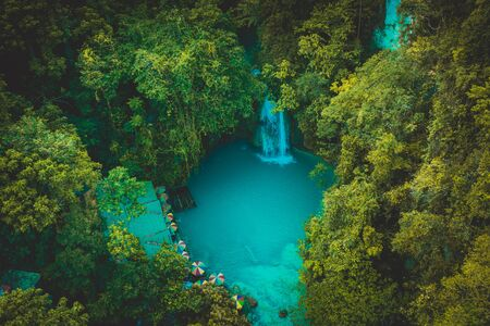 Kawasan waterfalls located on Cebu Island, Philippines - Beautiful waterfall in the jungle