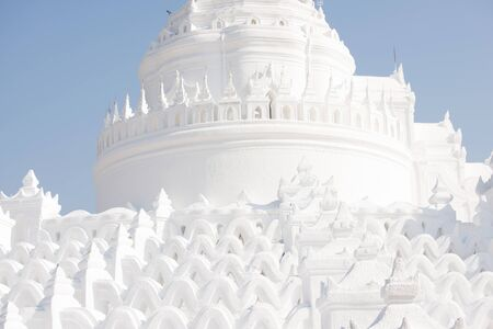 Panorama of White Hsinbyume (Mya Thein Dan) Pagoda in Mingun, Mandalay, Myanmar.