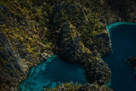The famous Twin Lagoon in Coron, Philippines, aerial view 版權商用圖片