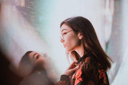 Beautiful asian japanese girl street portraits
