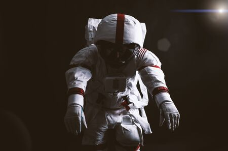 Astronaut leaving earth. Searching for a new home for humanity. Concept about science and nature. Lost into deep space
