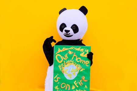 Panda mascot with environmental message. Concept about people, activism, and environment