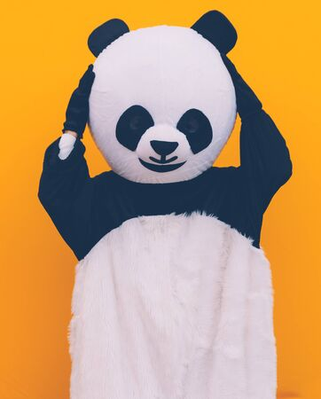 Panda mascot with environmental message. Concept about people and environment