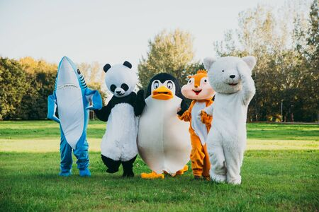 Group of mascots doing party. Concept about carnival, animals rights and lifestyle