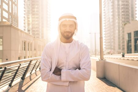Beautiful middle eastern man wearing kandora traditional outfit in Dubai. Portraits in the emirates Stock fotó - 137878442