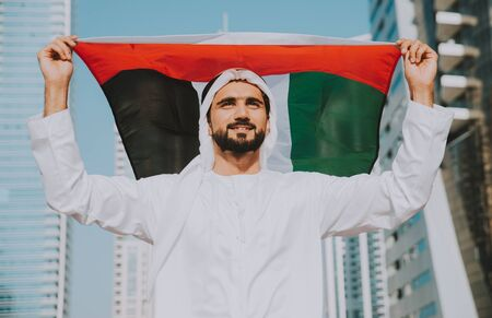 Beautiful middle eastern man wearing kandora traditional outfit in Dubai. Portraits in the emirates Stock fotó - 137878443