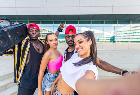 Hip hop crew dancing - Multiracial group of people having fun outdoors Фото со стока