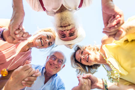 Group of seniors making a picnic at the park and having fun Stock Photo
