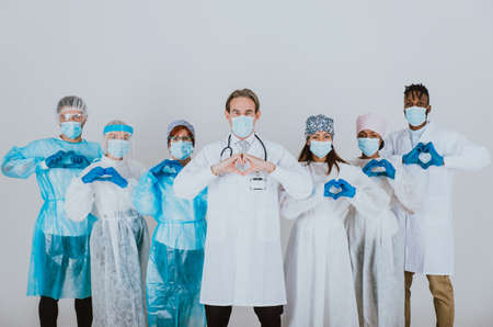 2020 heroes. Image with medical staff, nurses and doctors. Concept about health care and medicine Archivio Fotografico - 157975706