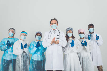 2020 heroes. Image with medical staff, nurses and doctors. Concept about health care and medicine Archivio Fotografico - 157975720
