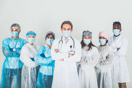 2020 heroes. Image with medical staff, nurses and doctors. Concept about health care and medicine Archivio Fotografico - 157976507