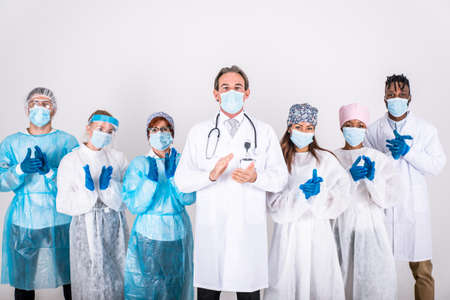 2020 heroes. Image with medical staff, nurses and doctors. Concept about health care and medicine Archivio Fotografico - 157976519
