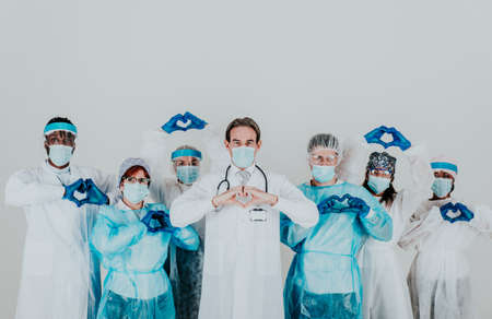 2020 heroes. Image with medical staff, nurses and doctors. Concept about health care and medicine