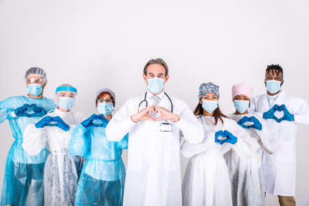 2020 heroes. Image with medical staff, nurses and doctors. Concept about health care and medicine Archivio Fotografico - 157976586
