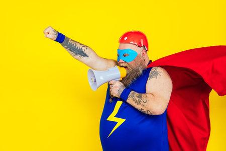 Funny man wearing a superhero costume