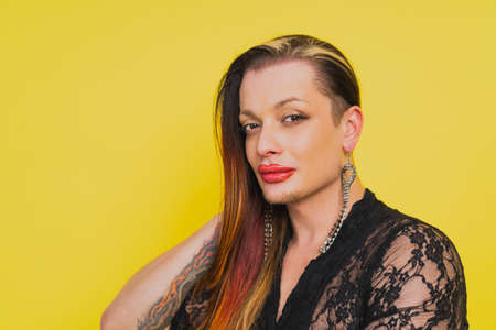Transgender fighting for lgbtq community rights - Transsexual male portrait, conceptual support for people, lesbians, and against homophobia Stock Photo